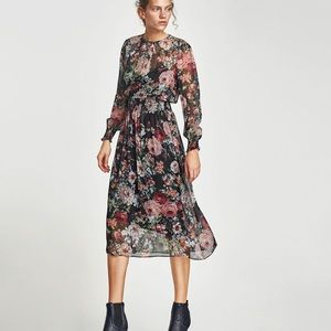 Zara navy + pink floral midi dress - Size S